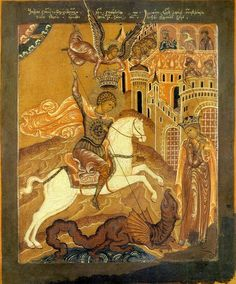 Moscow, early century - Article on story of St. George and the dragon icon Byzantine Art, Byzantine Icons, Patron Saint Of England, St Georg, Angel Flying, Saint George And The Dragon, Dragon Icon, Life Of Christ, Russian Icons