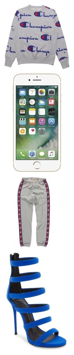 """""""Champion"""" by tlpollard ❤ liked on Polyvore featuring accessories, tech accessories, activewear, activewear pants, white sweatpants, sweat pants, white sweat pants, logo sweatpants, logo sportswear and shoes"""