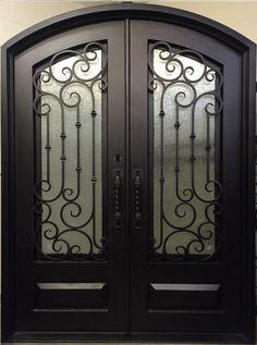 We have a wide variety of in-stock iron doors! We can also help you make your custom single & double entry wrought iron doors . Gate Design, Door Design, Iron Front Door, Double Entry Doors, Wrought Iron Doors, Door Gate, Steel Frame, Glass Door, Vestidos