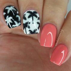 "Contrasting palm trees inspired by @jauntyjuli ! I want to recreate all her stuff. - - Products used: White: ""Soft Serve"" @iscreamnails  Black: ""Licorice Twist"" @iscreamnails Peach: ""Tart Deco"" Essie  Top coat: HK girl @glistenandglow1"