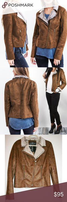 Faux Fur & Suede Moto Jacket NWT This warm, cozy faux fur & suede moto jacket is edgy and OH SO SOFT! It's fully lined in plush, high quality faux fur and features a shell made of *also very soft* 'can't-tell-the-difference' earth-toned faux suede. The fabric is fully stitched/hemmed but shows a raw cut around the edges, making it modern & youthful! Antiqued brass zippers & pulls give the jacket a vintage quality. Manufacturer measurements in pic 8, but I'm happy to take more! (Large tag w…