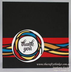 handmade thank you card: Swirly Mondrian ... luv how she filled the die cut spaces with bright die cuts ...
