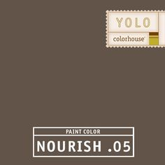 YOLO Colorhouse NOURISH .05:  Bittersweet chocolate.  Dress up this earthy hue with crystal and candlelight.  Serious and confident.  Beautiful in dining rooms and bedrooms. $35.95