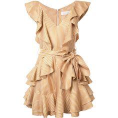 Zimmermann winsome flounce dress ($1,180) ❤ liked on Polyvore featuring dresses, orange dress, flutter-sleeve dress, flouncy dress, frill dress and zimmermann dresses