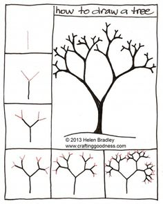 Ideas apple tree drawing tutorial for 2019 Apple Tree Drawing, Tree Drawing Simple, Tree Drawing For Kids, Doodle Drawings, Easy Drawings, Doodle Art, Pencil Drawings, Easy Art Lessons, Drawing Lessons