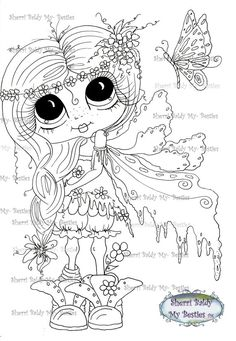 INSTANT DOWNLOAD Digital Digi Stamps Big Eyed  Besties Big Head Dolls Scann0003 Fairy Digi By Sherri Baldy ( I have this to color)