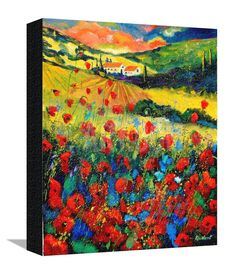 Poppies In Tuscany Giclee Print by Ledent at Art.com