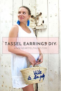 Heartfelt Hunt - Tassel Earrings DIY - Tassel earrings diy with colorful tassels, white summer dress, Ray-Ban sunglasses, basket bag, espadrille sandals and blonde dutch braided low bun - Summer Fashion and a do it yourself