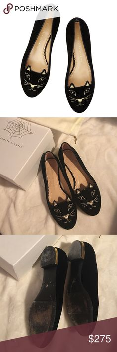 Charlotte Olympia kitty flats 🚫no trades🙅🏻 Worn a few times. We have the soles refinished and have anti-slippery tape on; comes with a charlotte olympia shoe box and original dust bag. I remebered this is a size 7M pair. But due to the soles were completely covered in black, I have placed a ruler in cm next to the pair; its 24 cm from top to bottom, which equvillant to size 7. Let me know if you need more help. Charlotte Olympia Shoes Flats & Loafers