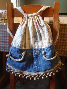Denim vintage bag tote purse bookbag backpack repurposed jeans. $49.00, via Etsy.
