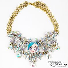 """""""La Mignonne"""" Opulent Colourful DollFace Necklace Jewelry Art, Jewelry Accessories, Doll Face, Wearable Art, Sculpture Art, Sculptures, Look After Yourself, Getting Wet, Kitsch"""