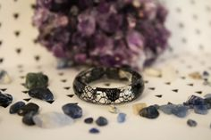 Measure Ring Size, Lace Ring, Chakra Jewelry, Resin Ring, Black Heart, Silver Color, Natural Gemstones, Handmade Jewelry, Handmade Items