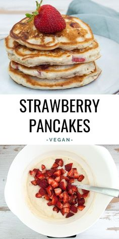 These vegan Strawberry Pancakes are quick and easy to make! Add some chopped strawberries into the pancake batter and make them the most perfect pancakes for a summer brunch! | ElephantasticVegan.com #strawberry #vegan #pancakes Vegan Pancake Recipes, Vegan Pancakes, Best Vegan Recipes, Sweet Recipes, Vegan Snacks, Raw Food Recipes, Vegan Treats, Vegan Desserts, Easy Recipes