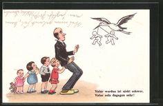 AK Vater werden ist nicht schwer..., Storch bringt Säuglinge Nr. 6432826…