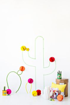 diy washi tape cactus wall art