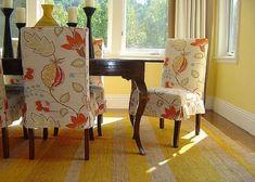Flowers Motif Slipcovers For Dining Chairs ~ http://lanewstalk.com/white-elegant-dining-chair-slipcover/