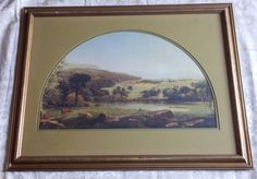 Vintage Antique Framed Print Picture Landscape Cows Meadow Stream 18 x 24 Vintage Art Prints, Antique Frames, Print Pictures, Cows, Vintage Antiques, Framed Prints, Landscape, Painting, Antique Picture Frames