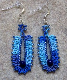 """Cocoon"" from Marilee's latest, Beaded Tatting Finery, tatted by Miranda... Tatting Fool: Earrings"