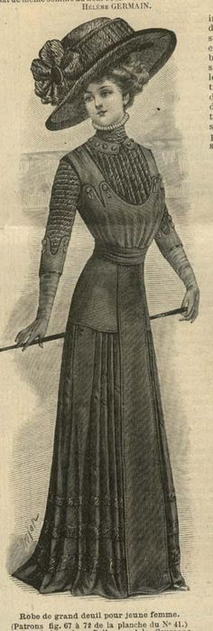 October 1909 mourning dress for a young lady