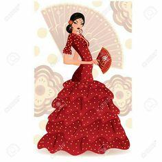 Vectores similares a 71393227 Art Deco styled Spain Flamenco dancer Traditional Dresses Images, Flamenco Party, Spanish Dancer, Ballerina Art, Dress Drawing, Dance Art, Jazz Dance, Latin Dance, Foto Art