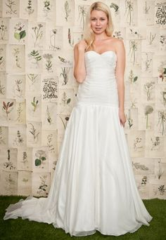 Sweetheart with dropped waist chiffon bridal gown