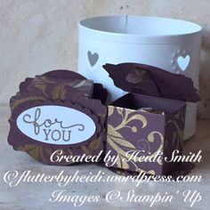 A treat box that holds a single Ferrero Rocher which would be great as a table or wedding favour. Purchase your Stampin Up supplies at heidismith.stampinup.n...