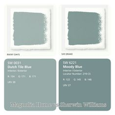 Coastal Blue paint colors by Sherwin Williams and Magnolia Home: Sherwin Williams SW 6219 Rainy Day. Magnolia Home Sir Drake. Matching Paint Colors, Blue Paint Colors, Exterior Paint Colors, Paint Colors For Home, Wall Colors, Dutch Boy Paint Colors, Farmhouse Paint Colors, Magnolia Paint Colors, Magnolia Homes Paint