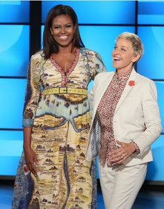 The First Lady chose a printed Gucci dress for her appearance on the Ellen DeGeneres Show.
