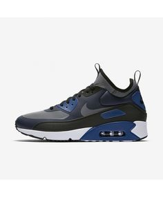 f7f102e68b40 Nike Air Max 90 Ultra Mid Winter Obsidian Black Gym Blue Cool Grey  924458-401