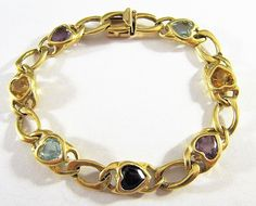 ESTATE SIGNED ABR 14K YELLOW GOLD & MULTI GEMSTONE CURB LINK CHAIN BRACELET 16g #ABR #Chain