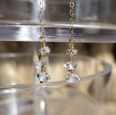 Herkimer Diamond Earrings, Dangling Earrings, Minimalistic Earrings, Simple Earrings, Gold Earrings by ThreeMagicGenies on Etsy
