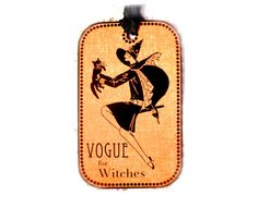 Vogue Witch Tag Vintage Halloween Gift Tag Retro Pretty Witch with Cat Halloween tags on Etsy, $4.00