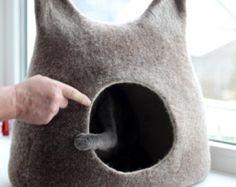 Cat bed cat cave cat house eco-friendly handmade by AgnesFelt