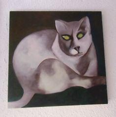 Oil on board of grumpy cat