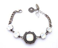 White Opal Swarovski crystal bracelet cushion cut by SiggyJewelry
