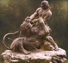 samson and the lion , farzad maleki Ancient Greek Sculpture, Greek Statues, Ancient Art, Ps Wallpaper, Greek Mythology Art, Lord Ganesha Paintings, Mythology Tattoos, Biblical Art, Wood Carving Art