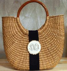 Monogrammed Scrimshaw Basket Bag
