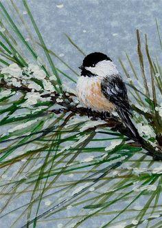 Snow Pine Chickadee Bird Painting Acrylic, Bird Paintings On Canvas, Christmas Paintings On Canvas, Simple Acrylic Paintings, Watercolor Bird, Watercolor Paintings, Winter Painting, Winter Art, Painting Snow