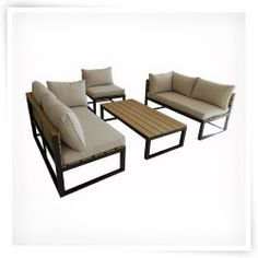 Walker Edison All-Weather Outdoor 4 Piece Conversation Set with Cushions