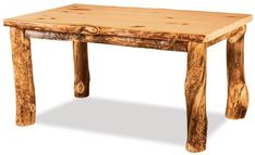 Amish Rustic Log Solid Top Leg Table This rustic log table exudes warmth and welcome! Rugged and real and made with choice of aspen, cedar or pine wood. This is a log cabin style beauty.
