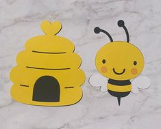 Bee & Beehive cut outs - decorations Insect Crafts, Bee Crafts, Handmade Crafts, School Board Decoration, School Decorations, Paper Crafts For Kids, Diy For Kids, Beehive Drawing, School Picture Frames