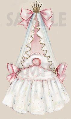 Vintage Baby Bassinet Image 3 Digital, printable, download, from vintage greeting card. $2.00, via Etsy.