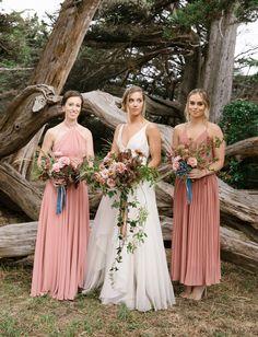dusty rose pink bridesmaid dresses // boho modern stylish california mendocino wedding    #dustyrose #bridesmaidideas