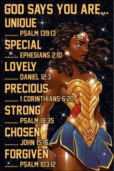 Black Wonder Woman God says you are unique poster Black Girl Quotes, Black Women Quotes, Strong Black Woman Quotes, Wonder Woman Quotes, Wonder Woman Art, Black Love Art, Black Girl Art, Black Art Painting, Woman Painting