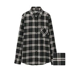 WOMEN Flannel Check Long Sleeve Shirt-UNIQLOUKOnlinefashionstore