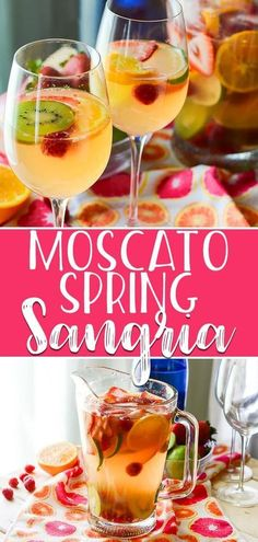 Sweet, bubbly, and aromatic, this fruity Spring Moscato Sangria is steeped in citrus, berries, and kiwi, and is perfect for any springtime get-together! #crumbykitchen #moscato #sangria #recipe #cocktails #spring #drinks #fruits #wine #cocktailrecipes