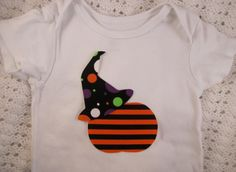 Halloween Iron on Applique for Toddler or Baby Onesie or T-shirt, Pumpkin and Witch Hat. $6.00, via Etsy.
