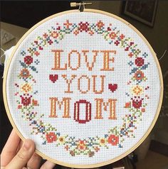 Cross Stitch KIT - Love You MOM / MUM : http://etsy.me/1M2zeCs