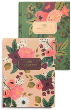 RIFLE PAPER CO 'Vintage Blossoms' Notebooks (Set of - This is one of my favorite paper/stationary brand. They make wonderfully whimsical and unique designs/patterns, and I think a lot if not all of their items are made in the US. Holiday Gift Guide, Holiday Gifts, Cool Gifts For Teens, Cute Stationery, Stationary, Idee Diy, Notebook Design, Rifle Paper Co, Book Binding