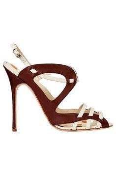 Manolo Blahnik Brown & White Sandal Spring Summer 2013 #Manolos #Shoes #Heels #manoloblahnikheelsspringsummer